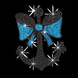 Iron-on Anchor With Bow Rhinestone Glitter Motif