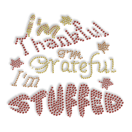 Best Sparkling Words Used on Thanksgiving Day Diamante Iron on Transfer Design