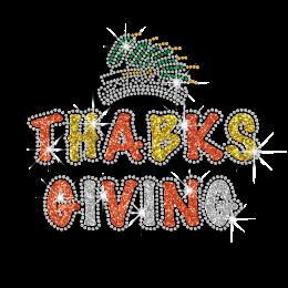 Bling Happy Thanksgiving Iron on Glitter Rhinestone Transfer
