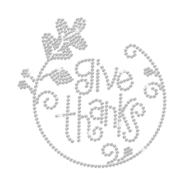 Crystal Give Thanks Iron on Rhinestone Transfer Decal