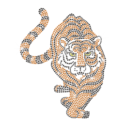 Gold Iron on Rhinestone Tiger Transfer for t shirt