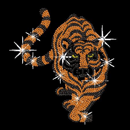 Gold Iron on Rhinestone Tiger Transfer for t shirt