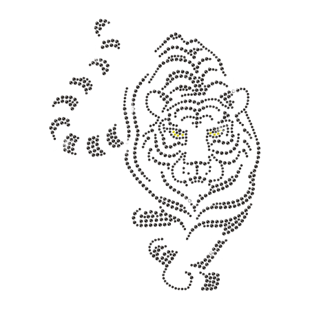 Iron on Crystal White Tiger Strass Transfer