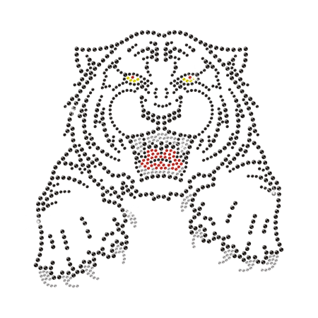 Bling Iron on Crystal Tiger Motif Design for Clothing