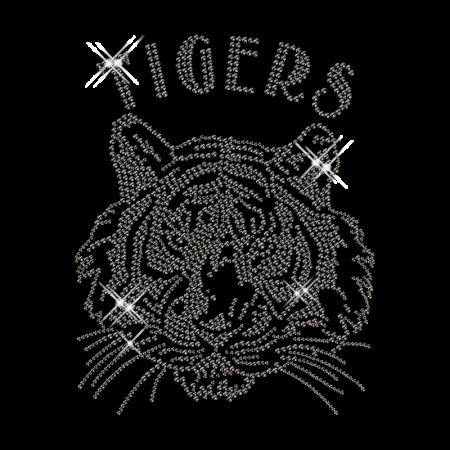Black Tiger Head Nailhead Hot Fix Transfer