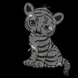 Cute Crystal Tiger Hot Fix Rhinestone Transfer