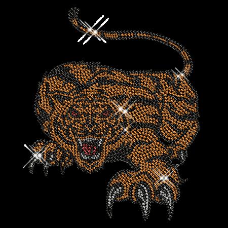 Shining Rhinestud Tiger Image Iron on Motif