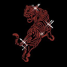 Red Rhinestud Tiger Iron on Transfer Motif