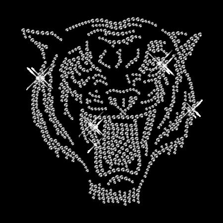 Crystal Rhinestone Tiger Head Iron On Transfer