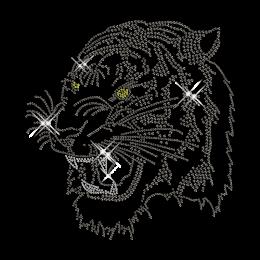 Rhinestone Crystal Tiger Head Iron On Design