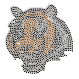 Custom Cool Sparkling Tiger Head Rhinestone Iron on Transfer Pattern for Shirts