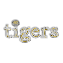 Custom Cute Big Sparkling Yellow Letters of Tigers Diamante Iron on Transfer Motif for Clothes