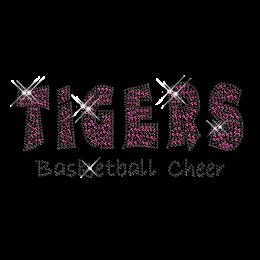 Custom Pink Sparkling TIGERS Basketball Cheer Diamante Iron on Transfer Motif for Shirts