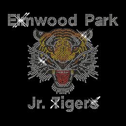 Custom Cool Sparkle Elmwood Park Jr. Tigers Rhinestone Iron on Transfer Motif for Shirts