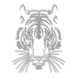 Custom Cool Sparkling Pure Crystal Tiger Head Diamante Iron on Transfer Pattern for Clothes