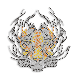 Scary Tiger Face Hotfix Rhinestone Transfer Design
