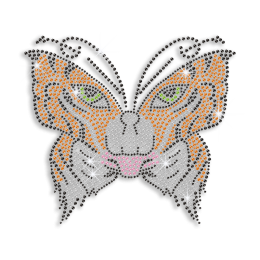 Tiger Face on Butterfly Iron on Rhinestone Transfer