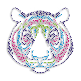 Cute Colorful Tiger Hotfix Rhinestone Transfer Motif