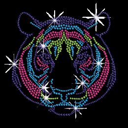 Cute Colorful Tiger Hotfix Rhinestone Transfer Motif