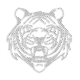 Jet Black Tiger Face Iron-on Rhinestone Transfer