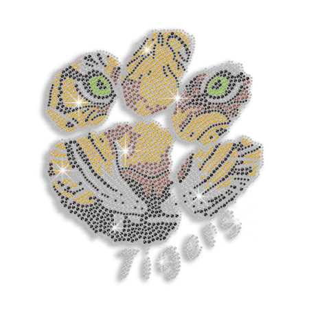 Fierce Tiger Face in Paw Print Iron-on Rhinestone Transfer