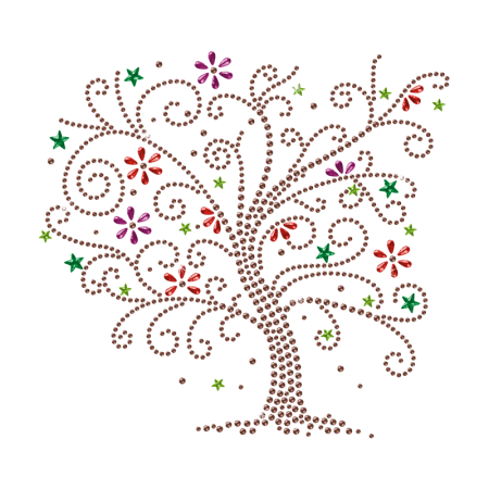 Rhinestone Colorful Flower Tree Iron on Transfer