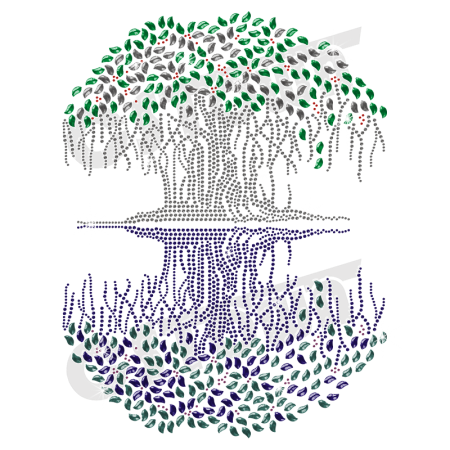 Fascinating Fairy Tree with Shadow Iron on Rhinestone Motif