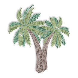 Custom Big Sparkle Rhinestone Coconut Palm Hotfix Transfer Design