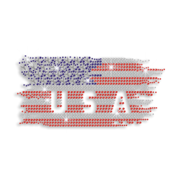 USA Flag Rhinestone Antique Metal Iron on Transfer Design