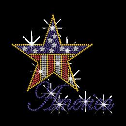 Shiny Star of America Iron-on Nailhead Rhinestone Transfer
