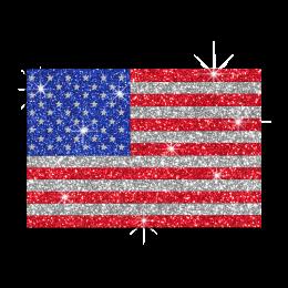 Glistering US Flag Hotfix Glitter Nailhead Iron on Transfer