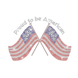 Proud to Be American Flag Iron on Rhinestone Transfer