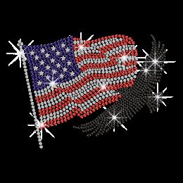 Waving American Flag & Powerful Bald Eagle Hotfix Rhinestone Transfer