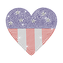 US Flag Heart Iron on Rhinestone Transfer