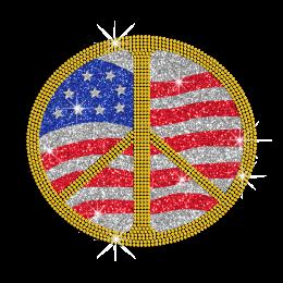 Custom Peace Sign in US Colors Hotfix Rhinestone Glitter Transfer