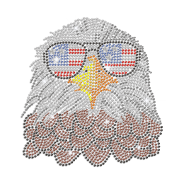 Cool Eagle with American Flag Glasses Iron on Rhinestone Transfer Motif