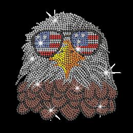 Cool Eagle with American Flag Glasses Iron on Rhinestone Transfer Motif