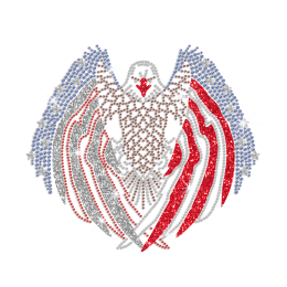 American Flag Eagle Spread The Wings Glitter Rhinestone Iron On