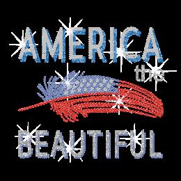 America The Beautiful Iron on Glitter Rhinestone Transfer Decal