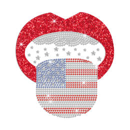 Red Lips with American Flag Tongue Iron on Glitter Rhinestone Transfer Decal