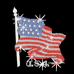 Glittering American Flag Crystal USA Iron on Rhinestone Transfer Decal