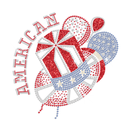 Bling American Hat Iron on Glitter Rhinestone Transfer Decal