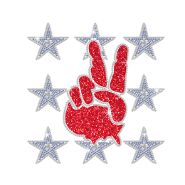 Glittering V Sign with Blue Bling Star Iron on Rhinestone Transfer Decal