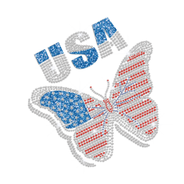 Bling USA American Flag Butterfly Design Glitter Rhinestone Iron on