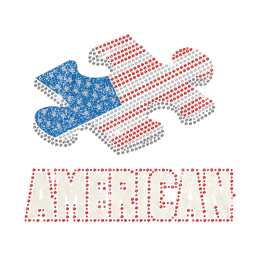 Glittering Puzzle with American Flag Design Iron on Rhinestone Transfer Motif