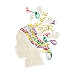 Black Girl with Colorful Hair Band Iron on Glitter Rhinestone Transfer Motif