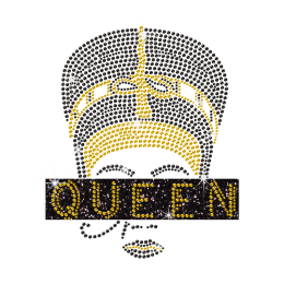 Personalized Bling Afro Queen Iron on Glitter Rhinestone Transfer Motif