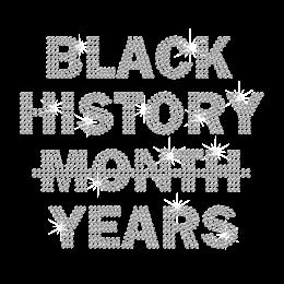Bling Black History Years Iron on Rhinestone Transfer Motif