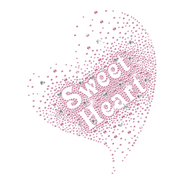 Rhinestone Beautiful Sweet Heart Iron on Transfer