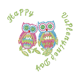 Rhinestone Happy Owl Couple Iron ons